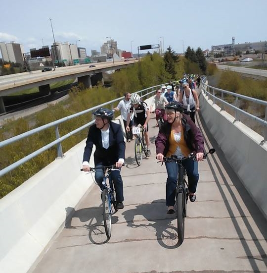 Chuck Marohn participating in the 5th Annual Mayor's Bike Ride in Duluth
