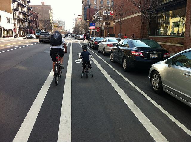 family in bike lane