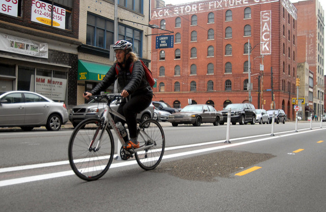 cyclist in bike lane