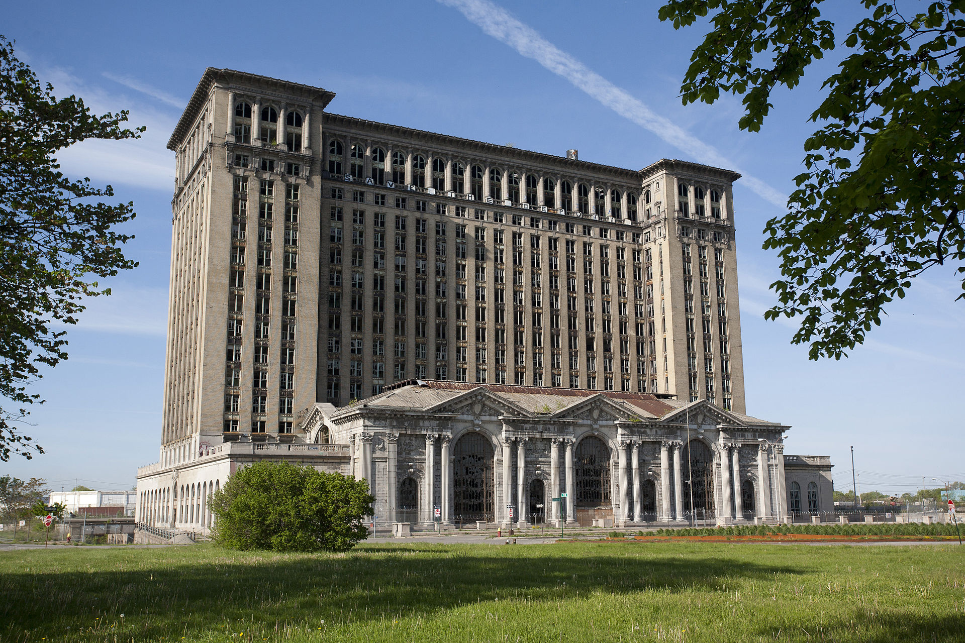 Michigan Central Train Station in Detroit. Photograph from  Wikimedia .