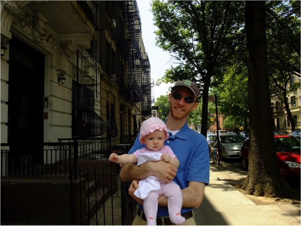 My husband John with our first baby girl two years ago in our neighborhood in Brooklyn, NY
