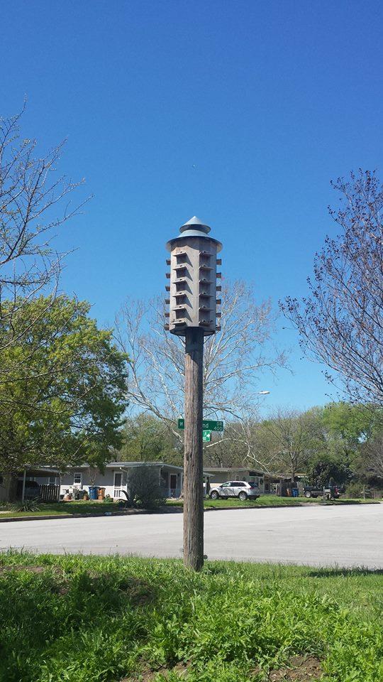 A multi-story bird house