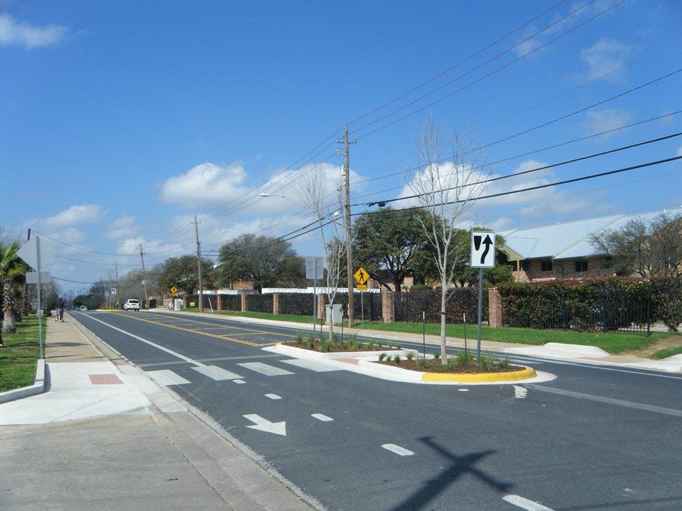A pedestrian island