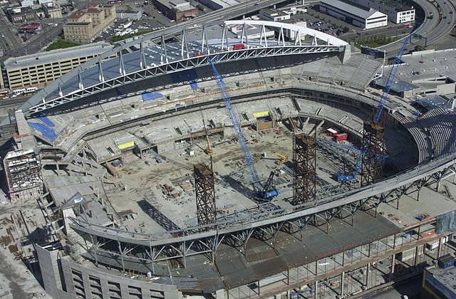 CenturyLink Field under construction in Seattle (image from Seattle municipal archives)