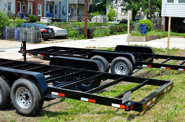 A trailer platform used for a tiny home
