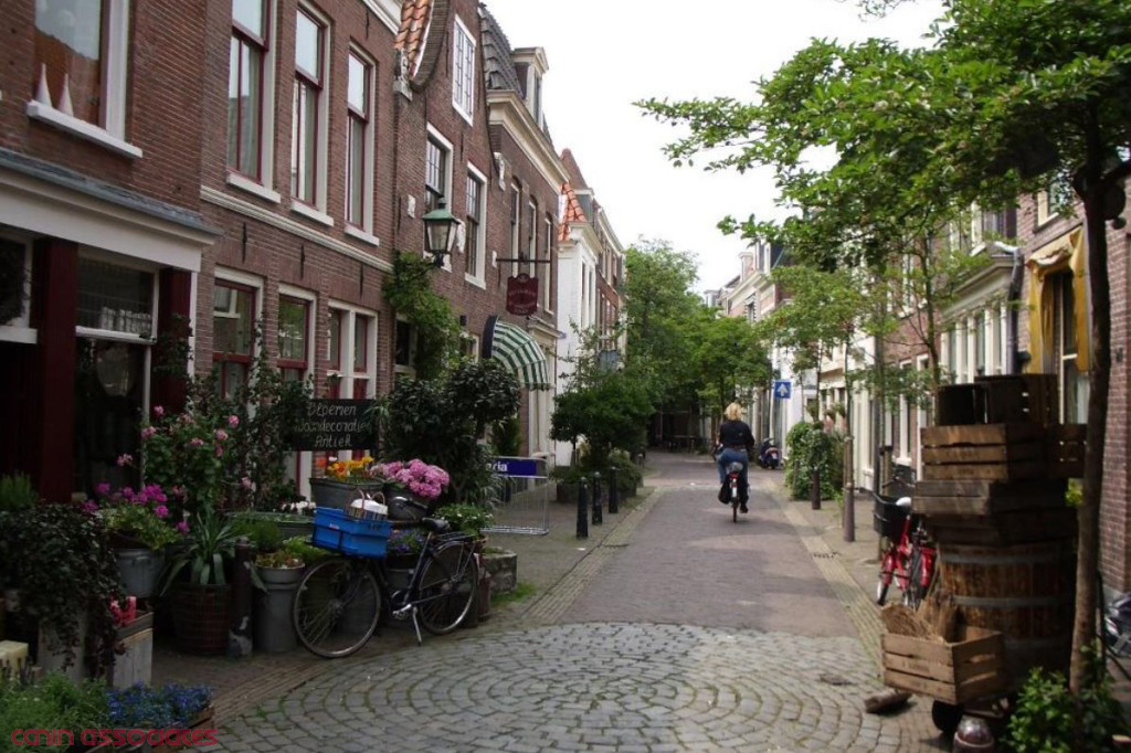A Dutch woonerf. Much more pleasing than the standard street template with a wall of cars.  (Source.)