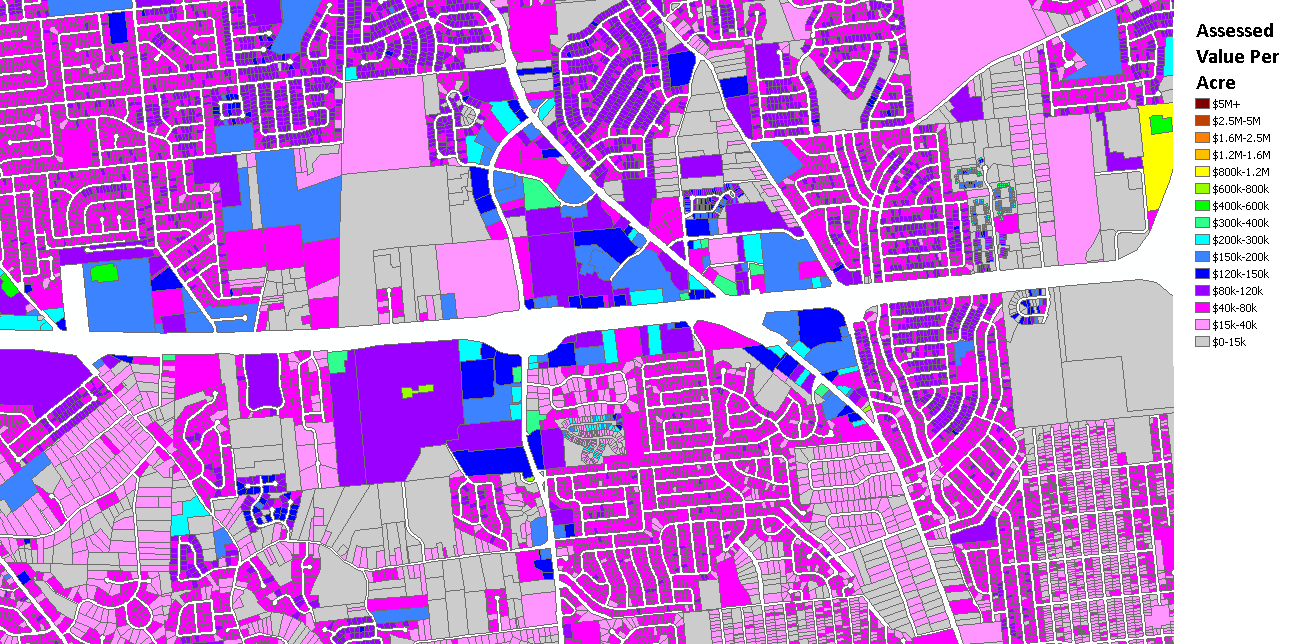 Land productivity (value per acre) around the new Metro North County Transit Center. (Visualization by Richard Bose)
