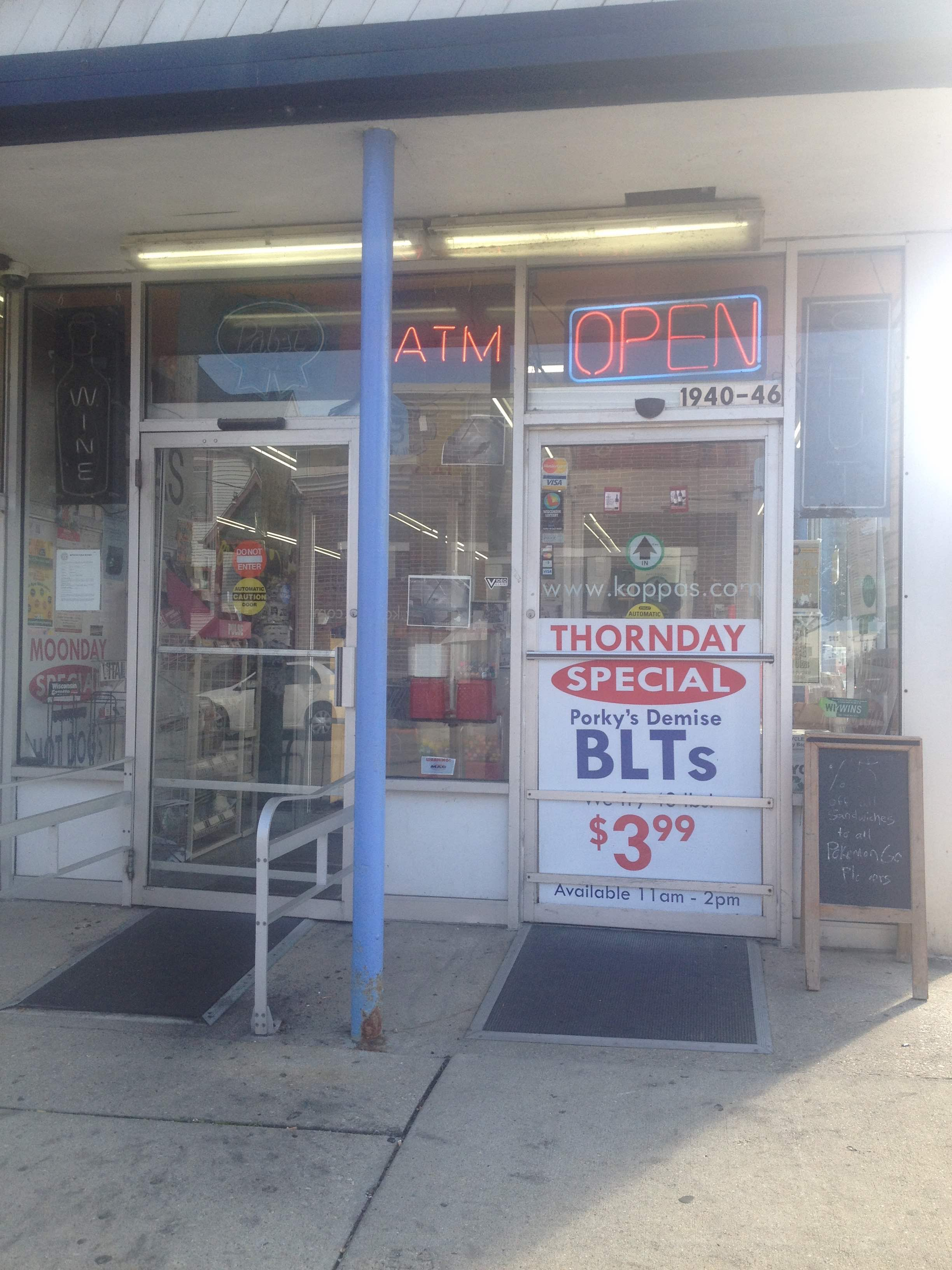 The entrance to my neighborhood corner store