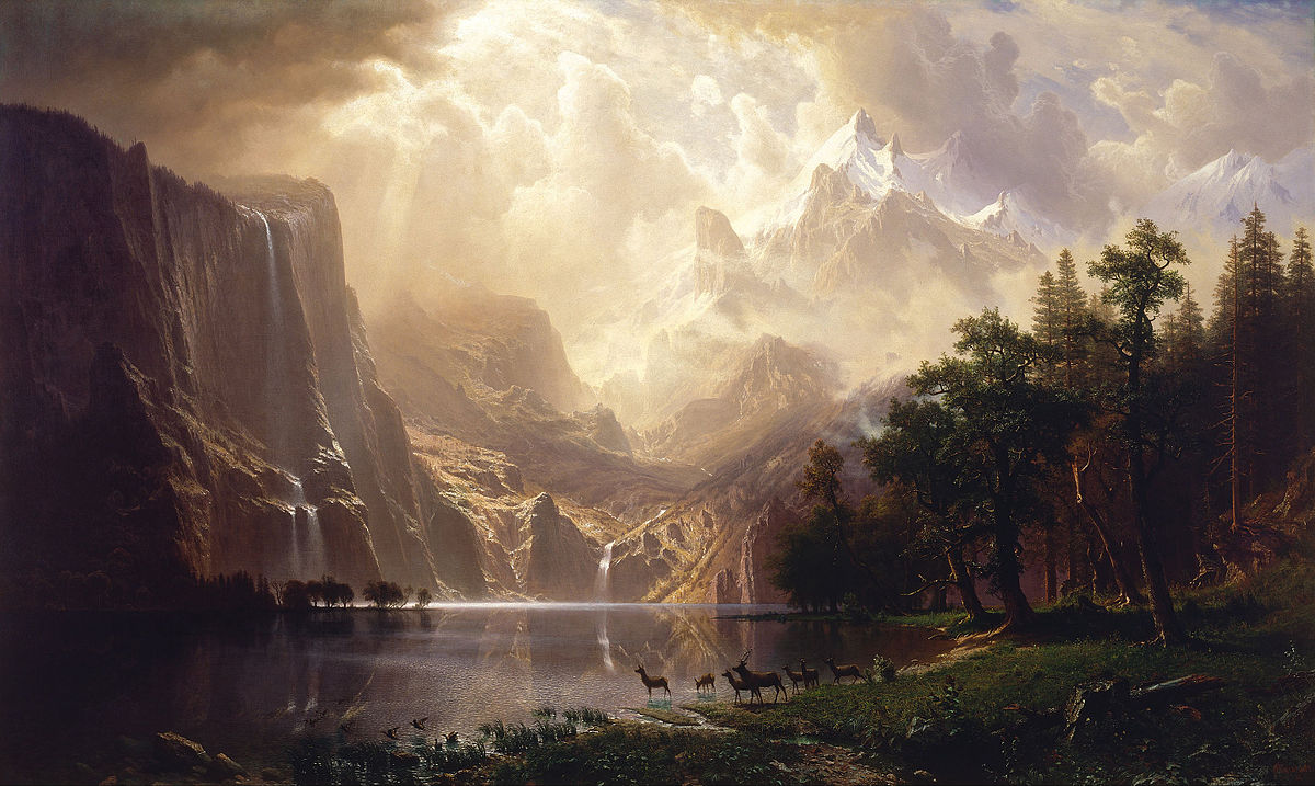 Albert Bierstadt's   Among the Sierra Nevada Mountains, California  painting illustrates this untamed wilderness aesthetic.