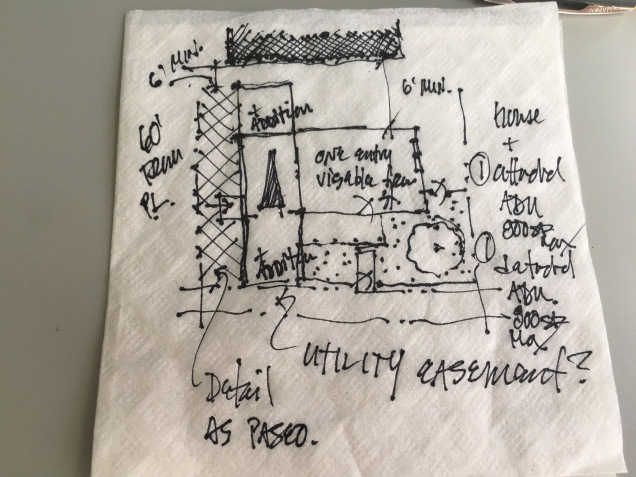 A napkin sketch showing how to add an attached ADU and a detached ADU to a small existing house on a 50′ x 100′ lot in Portland, OR.