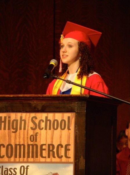 The author's daughter, Xela, speaking at high school graduation