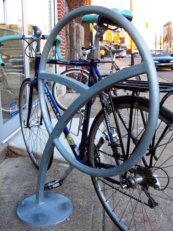 Vertical bike racks save space.