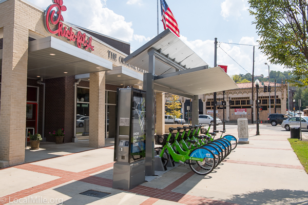Zyp station in 5-Points South, Birmingham, AL. Note the solar panel on top for charging the e-bikes.