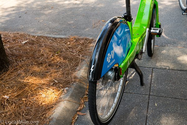 The e-bikes are distinguished from the regular bikes with a small lightning bolt on the rear fender.
