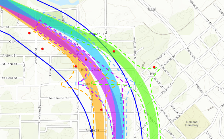 A map of four potential inner-city highway routes (in orange, purple, blue and green), all of which run almost directly through the community garden at Buena Vista St and Allen Ave. Click on the image to view larger.( See the full map )