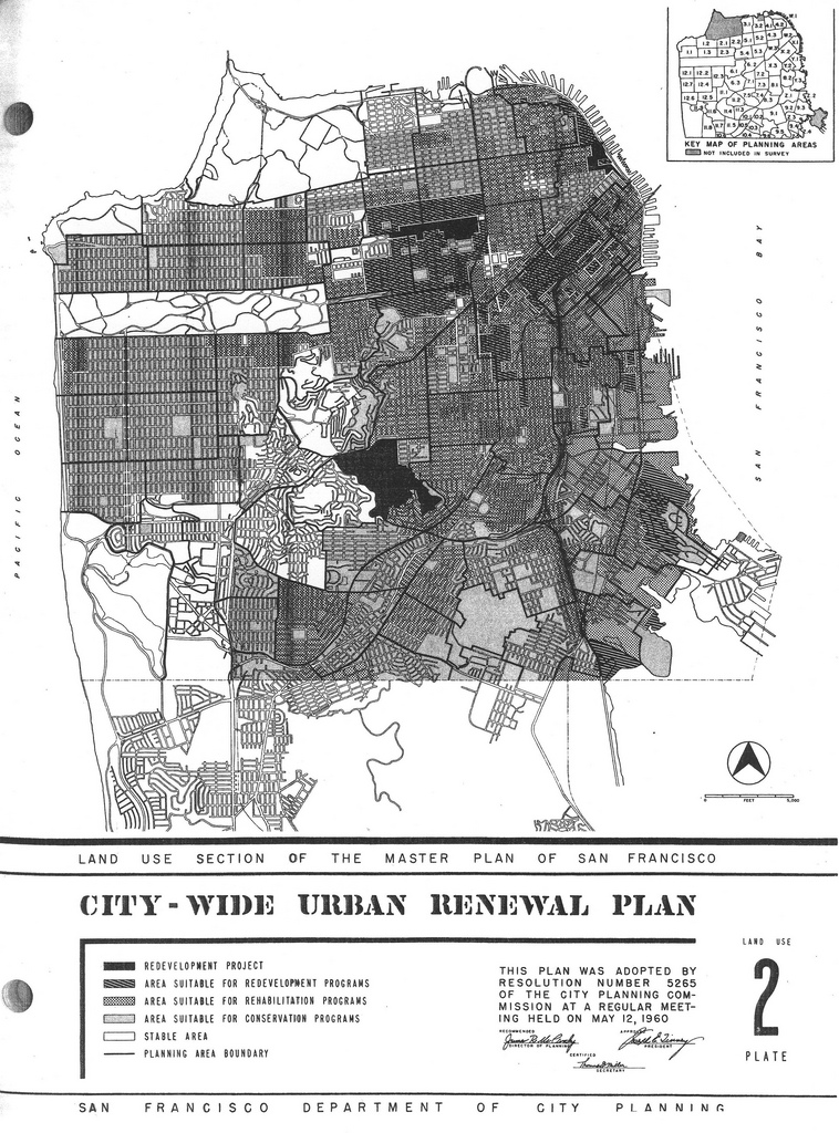 San Francisco Urban Renewal Plan. Source: Eric Fischer via Flickr. Labeled for noncommercial reuse.