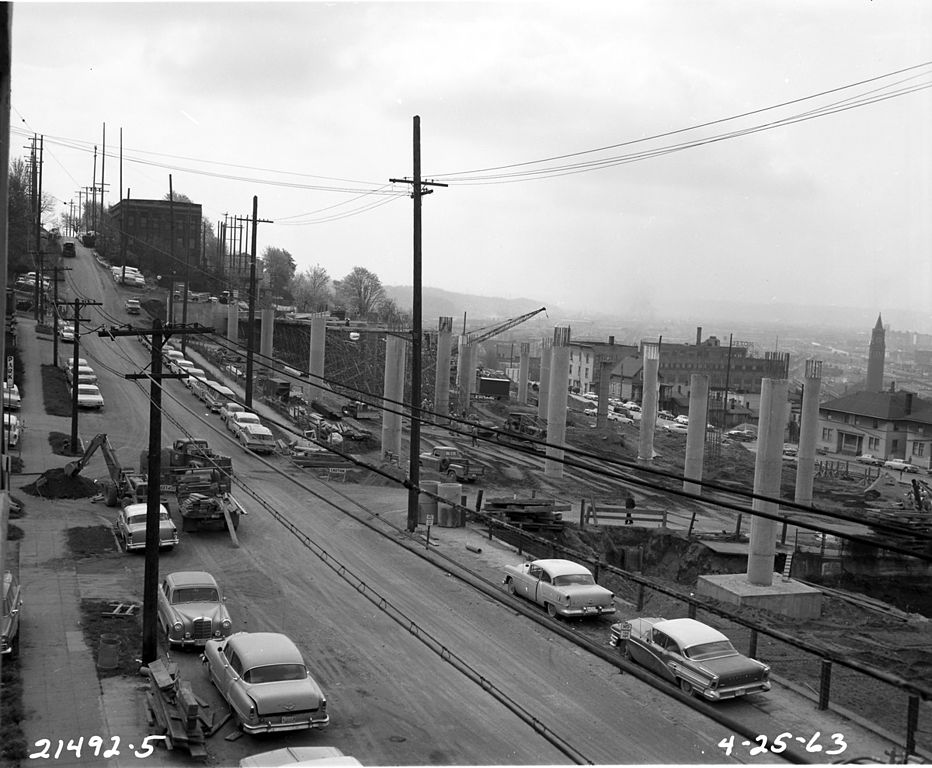 Freeway overpass under construction, Seattle, 1963. Source: Wikimedia Commons