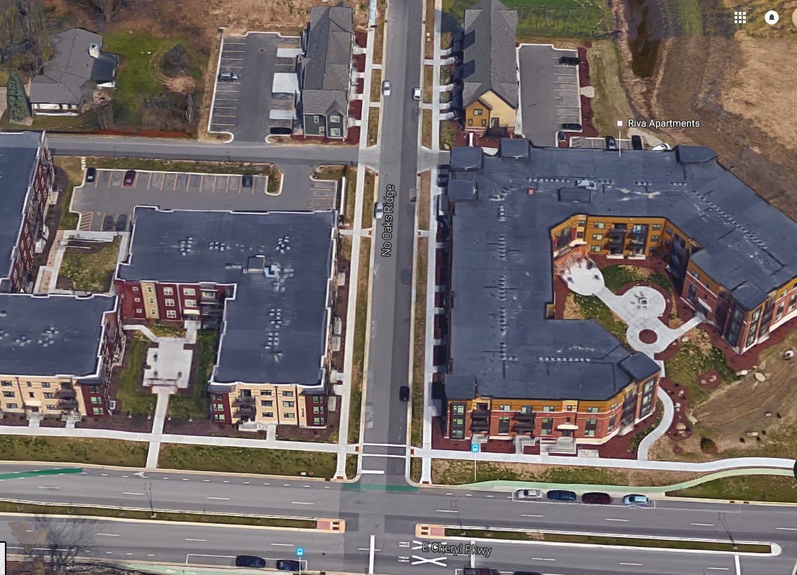 No Oaks Ridge, the first SmartCode thoroughfare in Fitchburg, showing T5 and T4 development and the East Cheryl Pkwy cycle track (green, at bottom, from Google Maps)