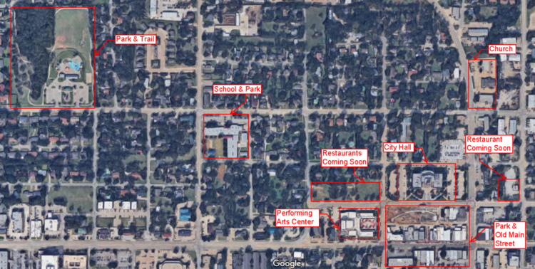 Amenities within 5-10 min walk from my house (Image from google earth)
