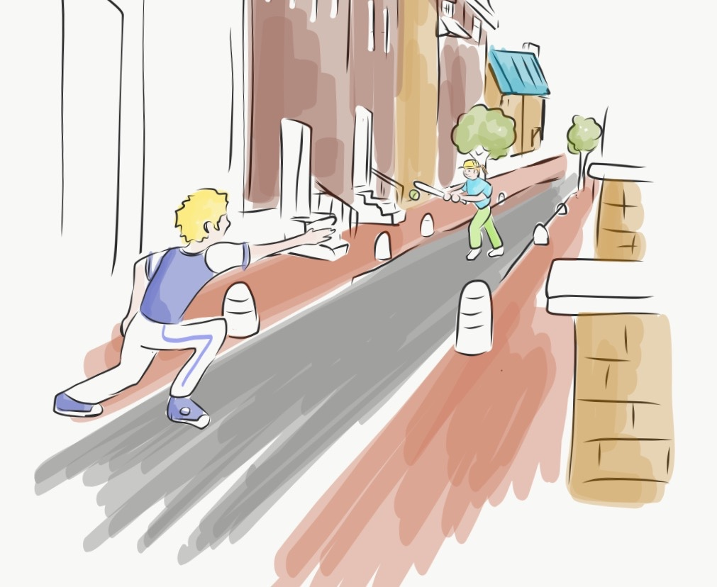 A is for alleys - streets narrow and small Slowing down cars so the kids can play ball Designing more alleys is one simple way To make places safer for children at play.