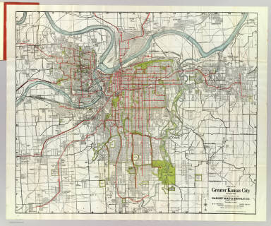 Kansas City streetcar system, early 20th century. City size determined by 30-minute transit distance.