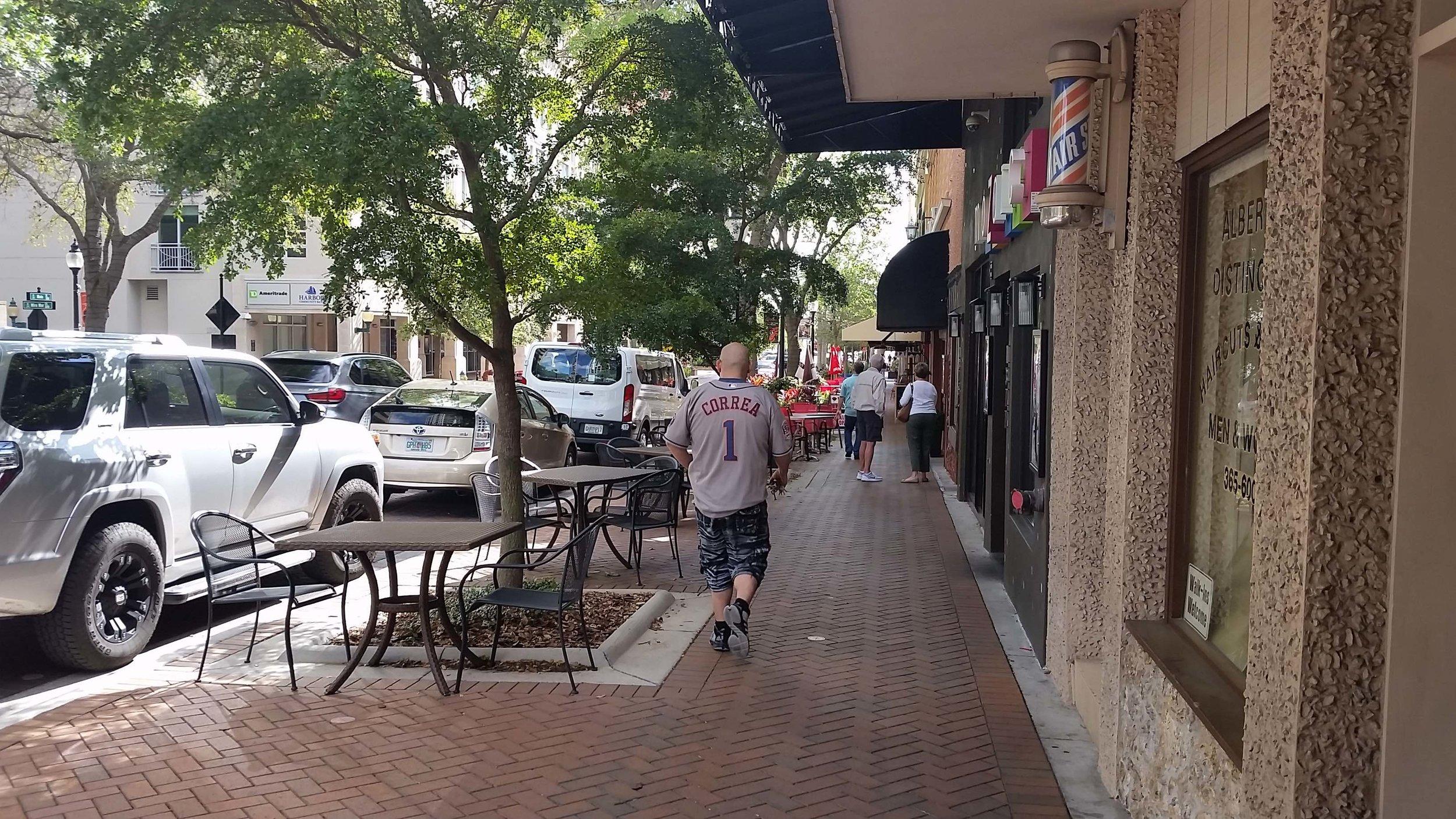 Pedestrian activity, downtown Sarasota.
