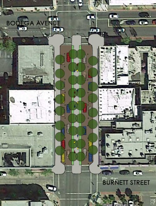 Proposed center protected bike lane.