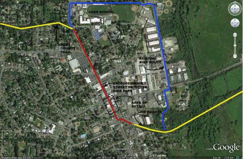 Existing/proposed bike routes in downtown Sebastopol. Existing class I trails shown in yellow; existing connection shown in blue; and proposed route down the center of Main St. shown in red.