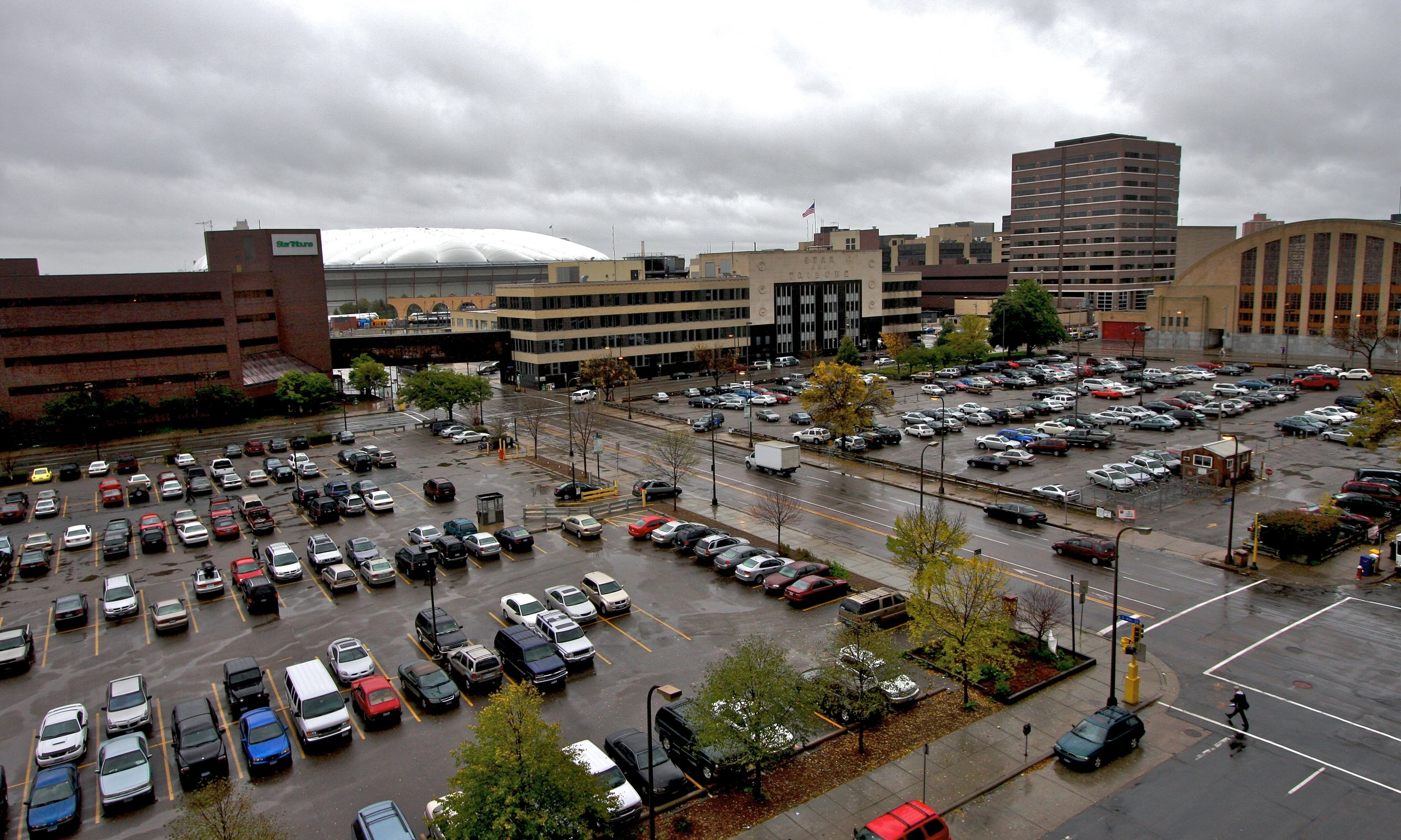 Surface parking near the Metrodome in downtown Minneapolis, 2007.  Photo from Wikimedia.