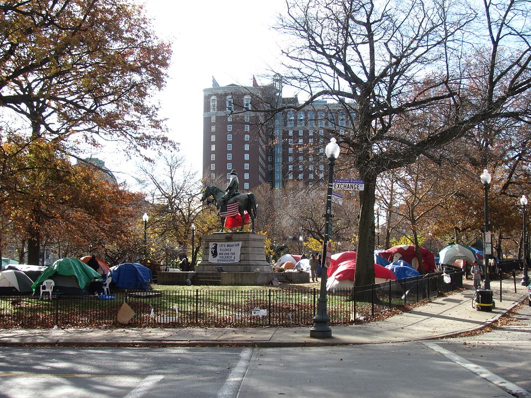 Occupy protesters set up in camp at Burnside Park in Providence, RI. (Source:  John Phelan )