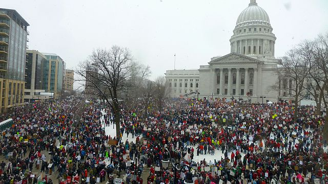2011 protests at the Wisconsin State Capitol in Madison (Source:  Justin Ormont )