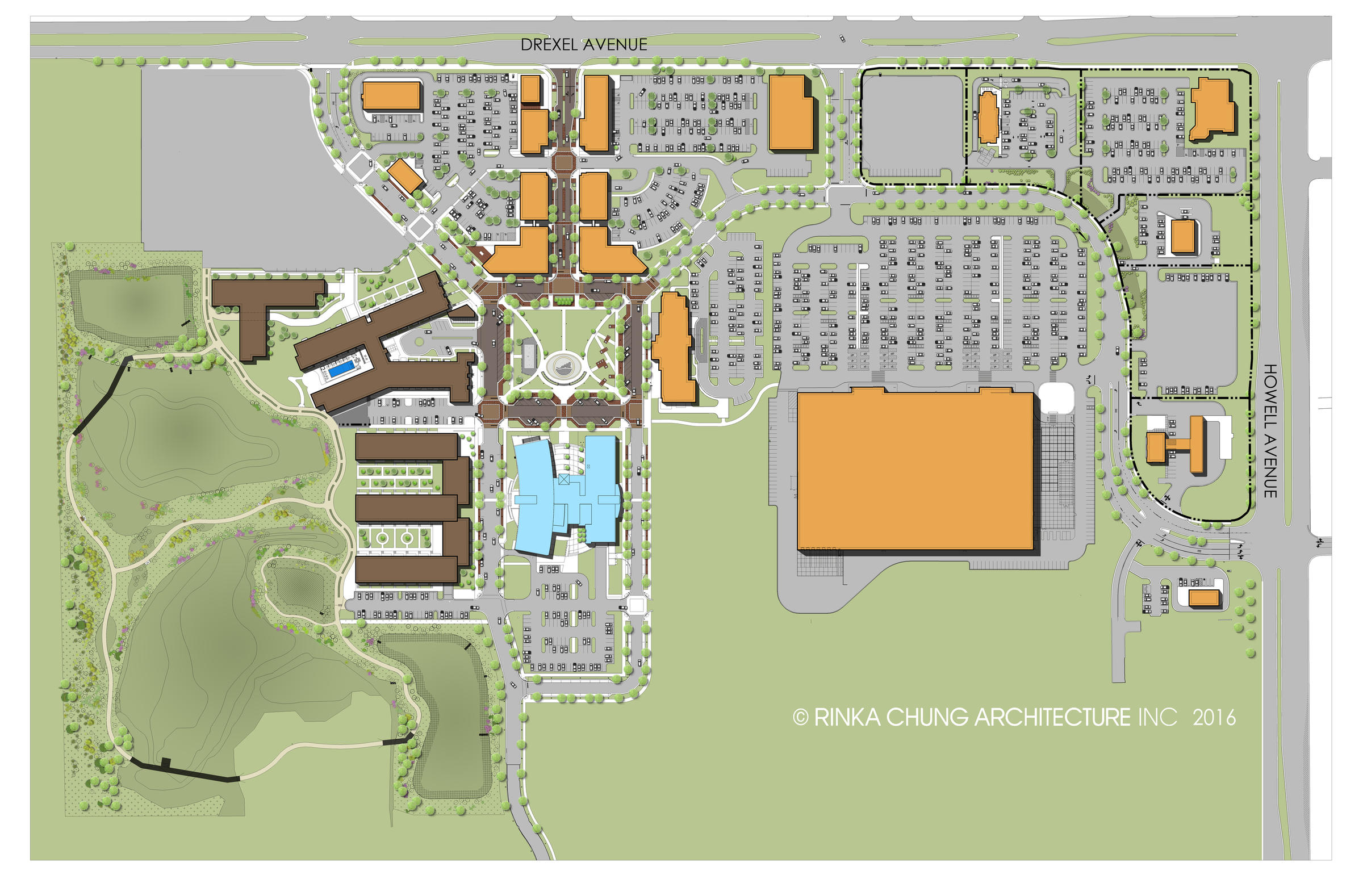 The gray space areas are almost all parking. (Rendering from  Drexel Town Square website )