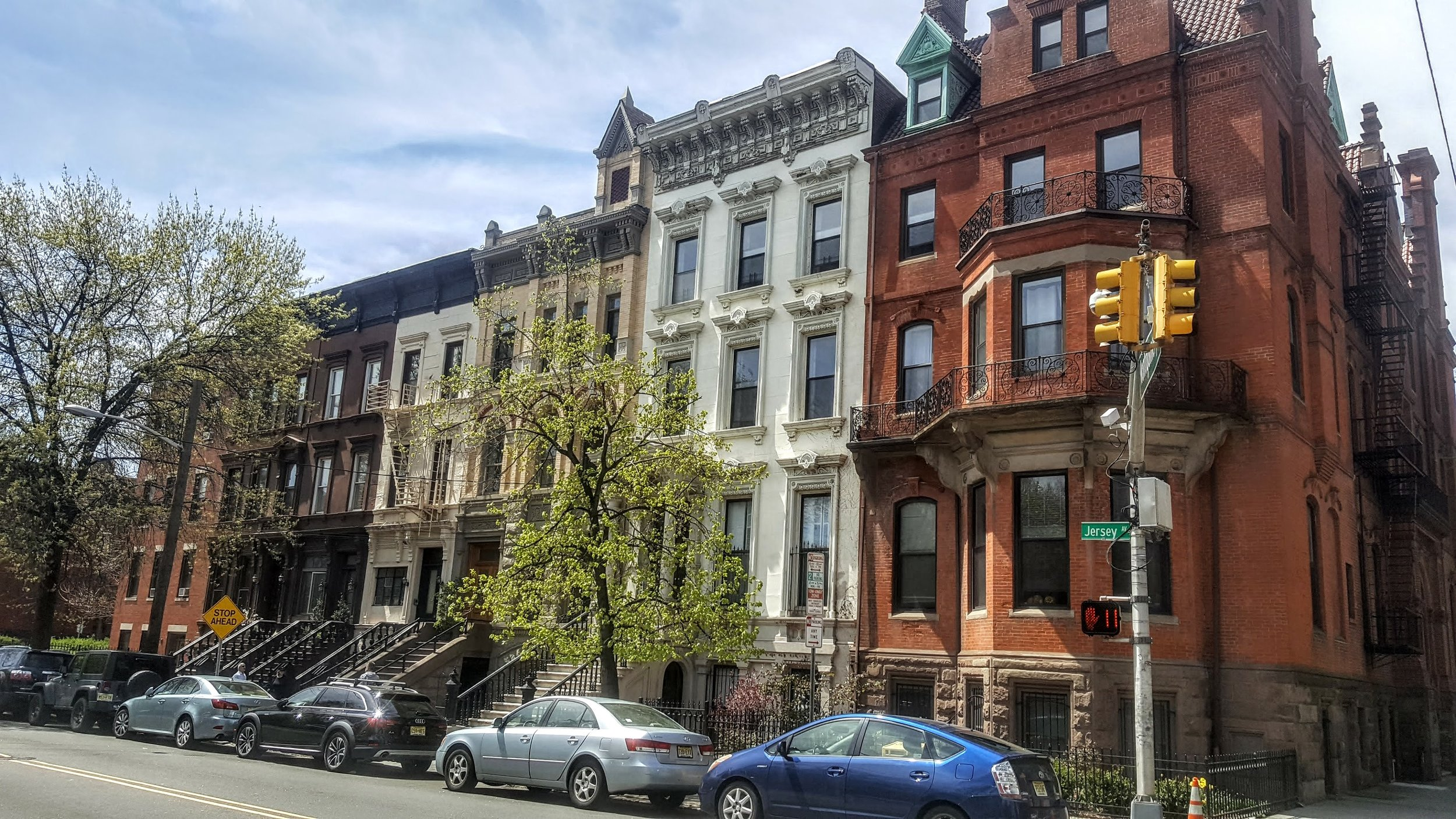 A residential street in Jersey City very close to Van Vorst Park (which we will talk about in a moment). The lack of large setbacks and dedicated greenspace in the neighborhood brings just about everything nearby into walking distance.