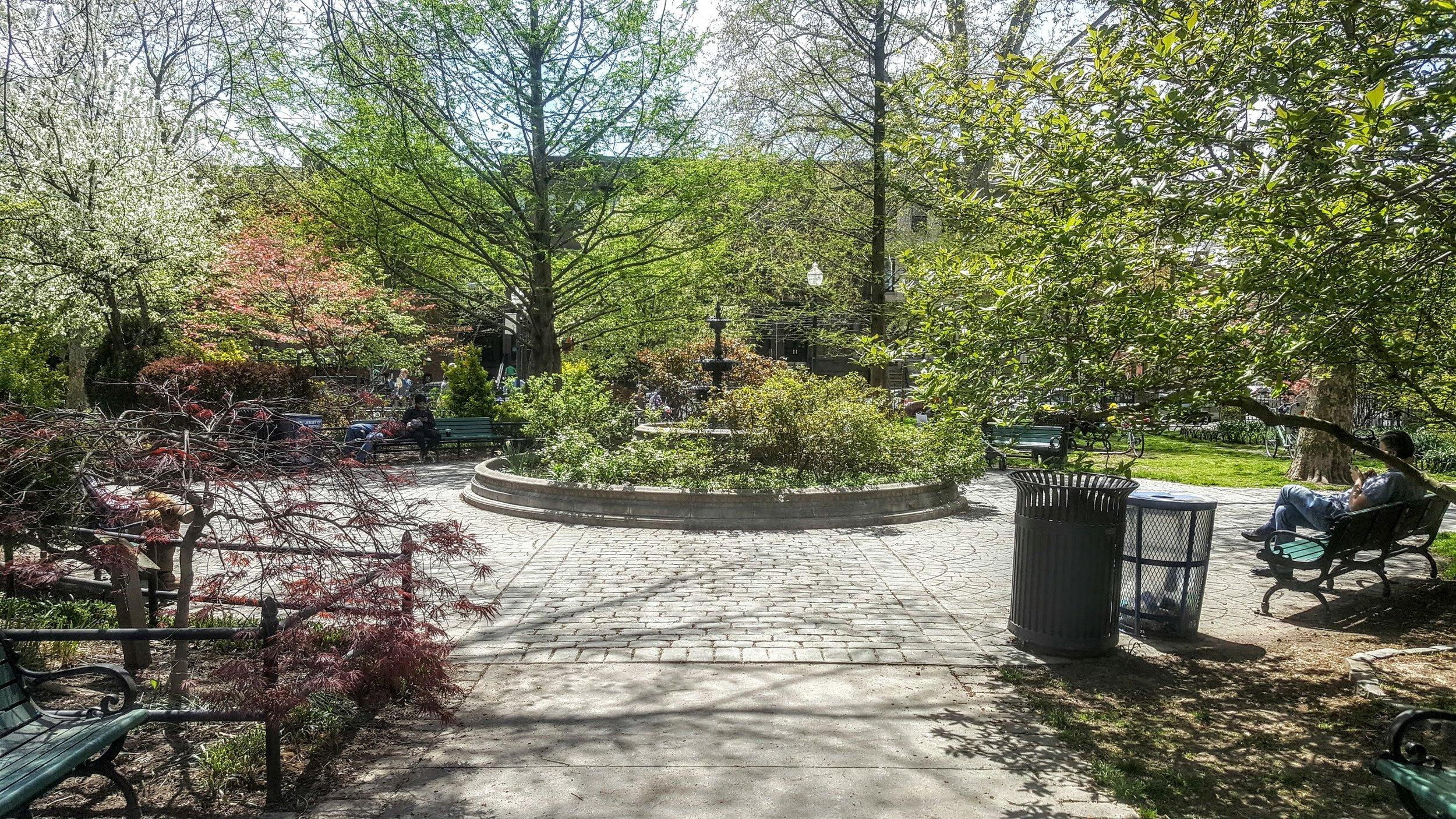 The fountain in Van Vorst Park.