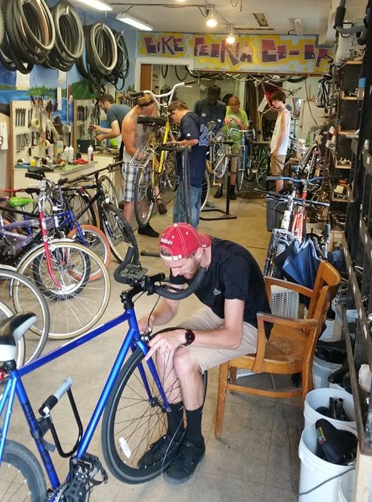 A busy summer afternoon in 2016 at Bike Peoria Co-op