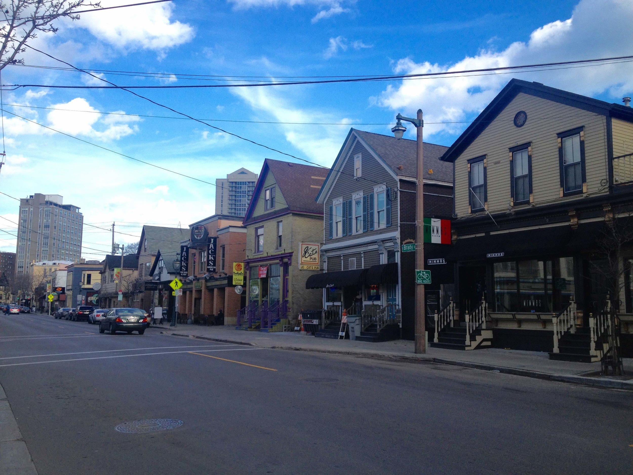 My personal favorite street in Milwaukee, WI—Brady Street. (Photo by Rachel Quednau)