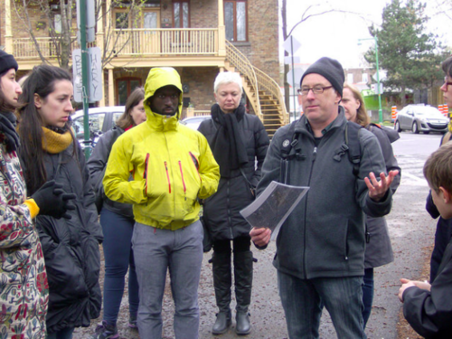 Strong Towns member Zvi Leve leads a walking tour  in his neighborhood in Montreal. (Photo by Zvi Leve)
