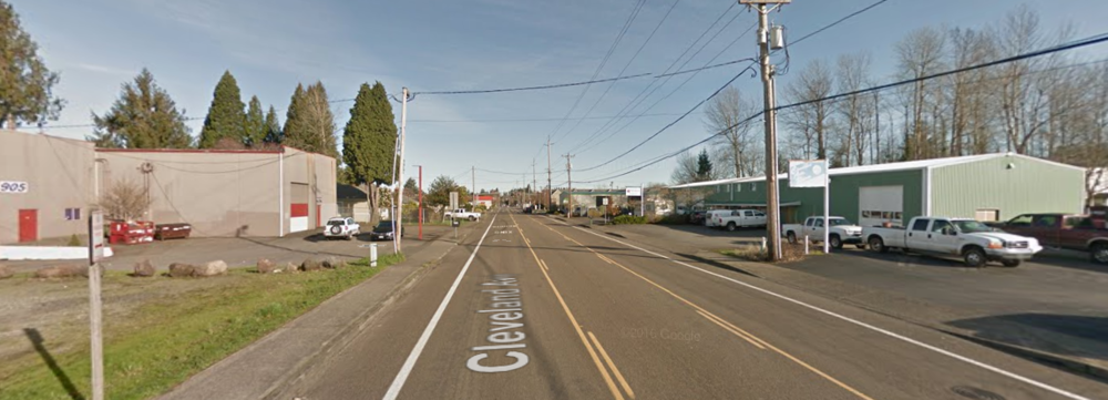 Just outside the Cleveland Ave MAX stop in Gresham. (Photo from GoogleMaps)