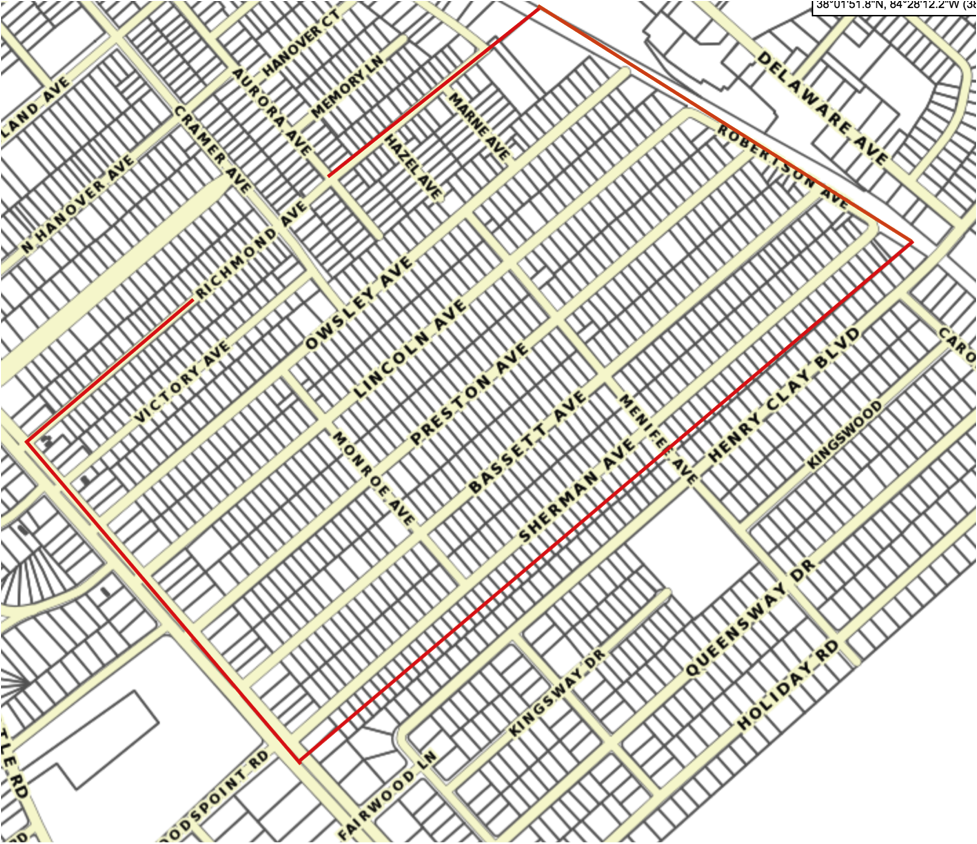 A parcel map of Kenwick today. Note that lots northwest of Lincoln Avenue are smaller and irregularly shaped. These properties were largely platted before the citywide zoning and subdivision ordinance in 1930. Properties to the southwest of Lincoln Avenue were largely developed after 1930 and, by contrast, are almost universally the same size: 7,501 square feet, just meeting the required minimum area. Since developers are  just  meeting the bare minimum, it's a safe bet that the regulation is forcing larger lots than the housing market of the time would otherwise have produced. (Source: Lexington-Fayette Urban County Government.s Department of Geographic Information Systems )