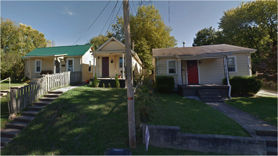 """Not """"tiny homes,"""" just regular homes that were built for regular people on regular budgets. Vacant lots in the neighborhood could be split and developed into houses like these, if land use and subdivision regulations allowed it. (Source: Google Maps)"""