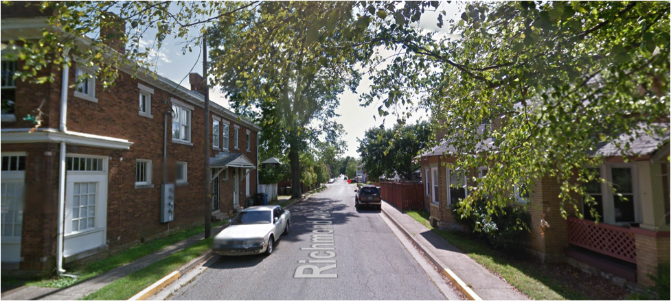 Small apartments abutting homes. Both are flaunting setback rules, which keeps the street at a human scale. (Source:Google Maps)