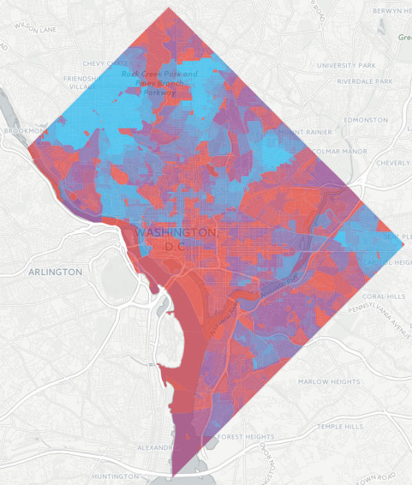 BNA scores by Census block within Washington D.C. The best bike network connections are in bluer areas.