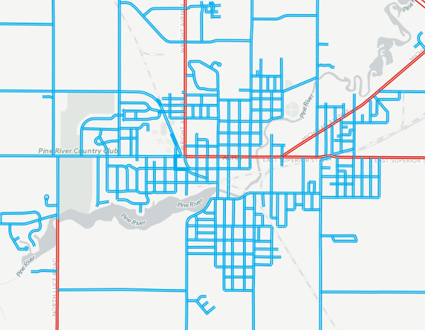 Biking stress levels on the street grid of Alma, Michigan.