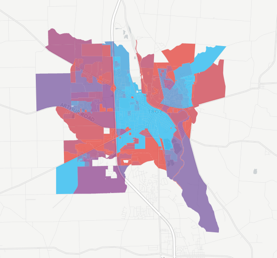 Average network stress by Census block in Troy, Ohio.