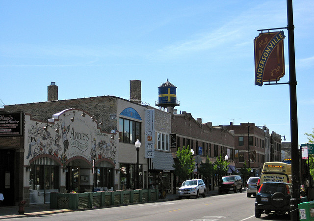 Andersonville, a trendy and increasingly expensive neighborhood in Chicago. Source:  Kevin Zolkiewicz
