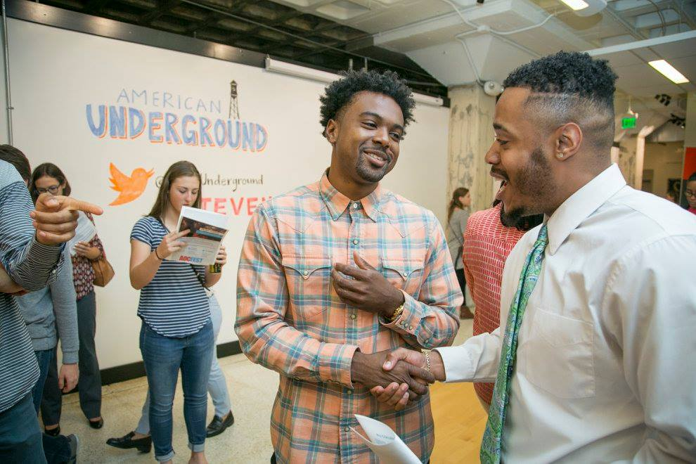 Students from around the Research Triangle engage with startup companies during College Night at American Underground, sponsored by Duke Innovation and Entrepreneurship office. (Source: American Underground Facebook page)