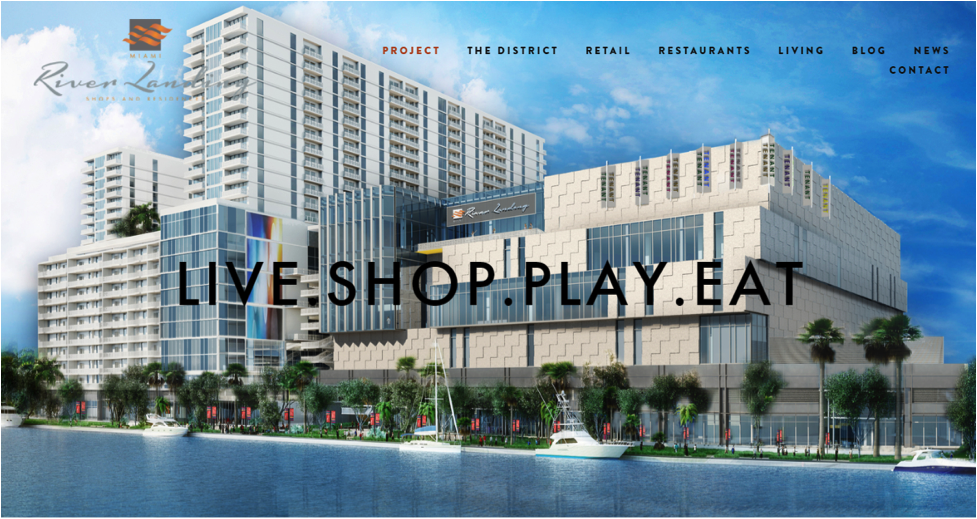 Homepage for the River Landing, a Miami lifestyle center. (Source:  River Landing )