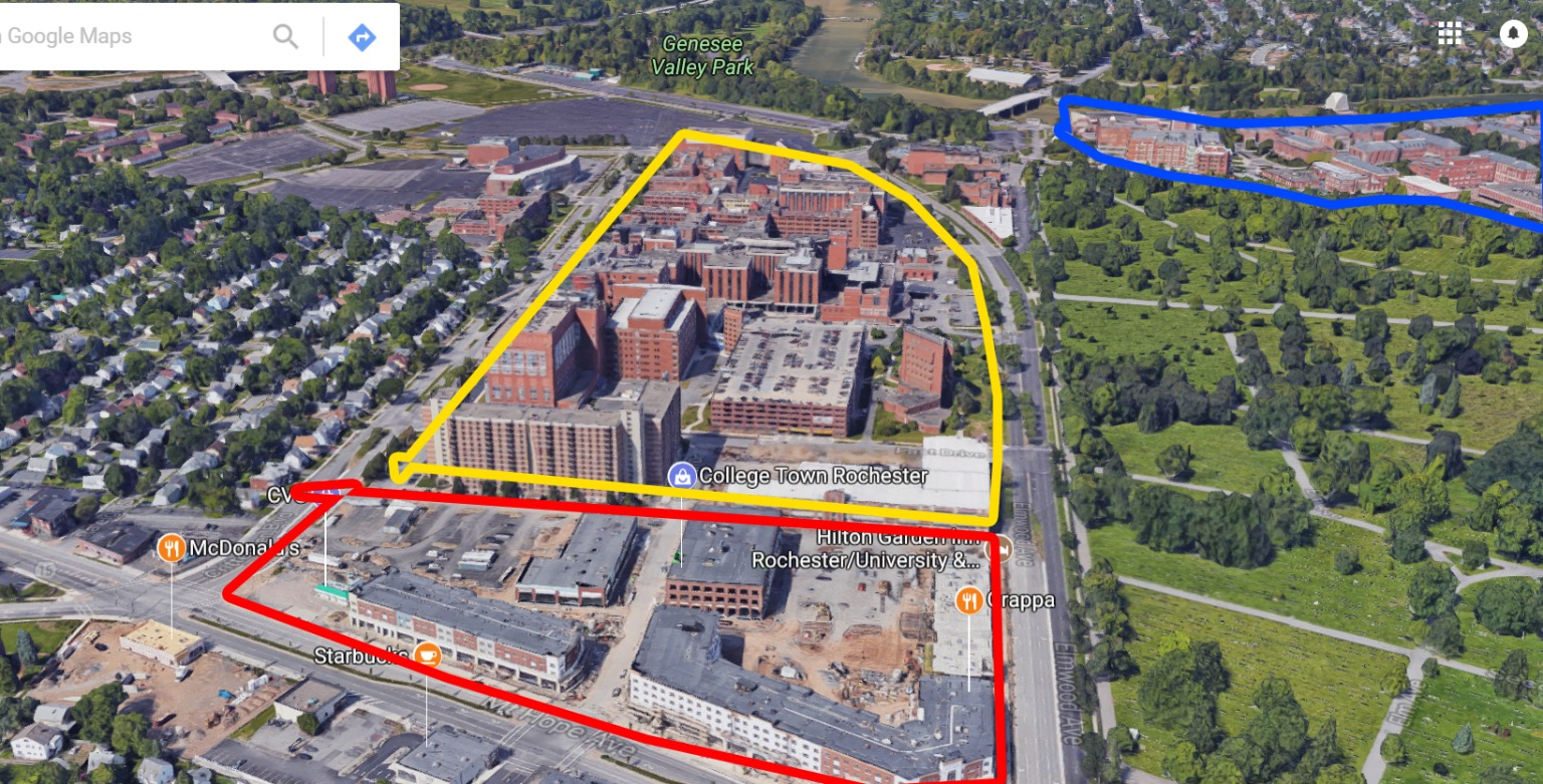 Google Map view of College Town (Red), University of Rochester Medical Center/Strong Hospital (Yellow) and The University of Rochester Campus (Blue).