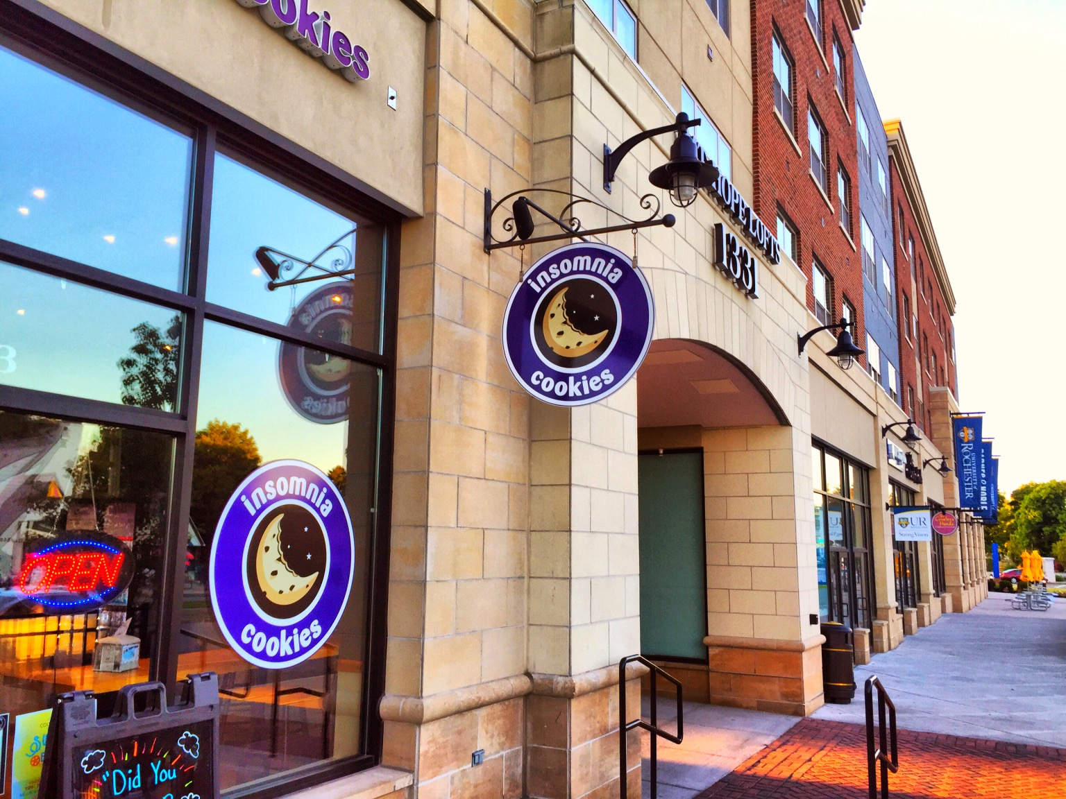 Insomnia Cookies is one of several chains that populate College Town.