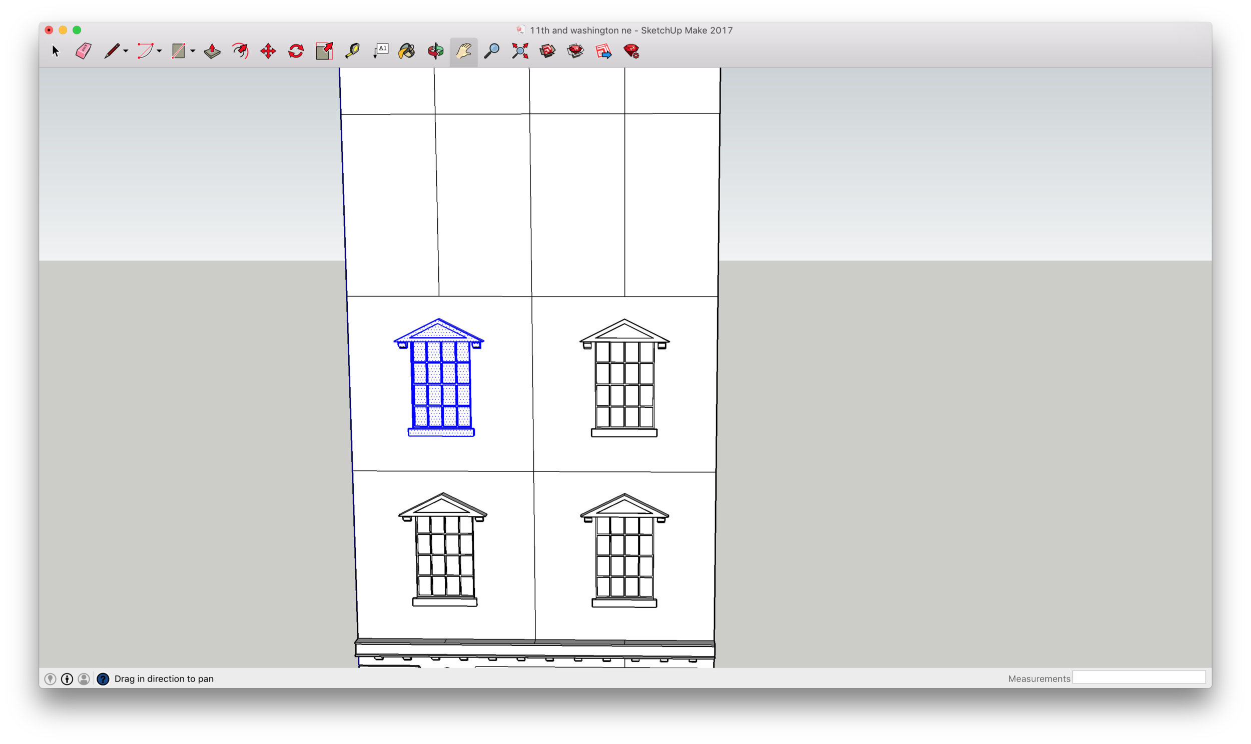 Drawing the windows. Don't waste time building the same thing twice; just copy and paste each element.